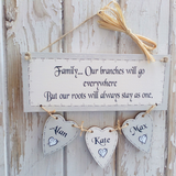 Personalised Plaque with hanging hearts